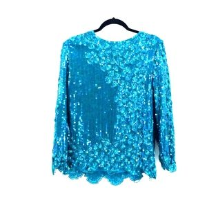 NWT Vintage Scala sequin pure silk top size XL